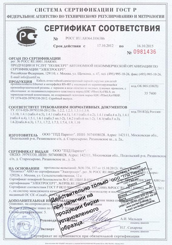 Схема сертификации кабель